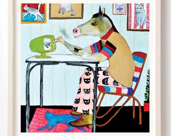 Art, Print, Horse, Cats, Humor, Interior design, Cat Lovers, Gift, Jojo Higgins Loved Cats but Sadly Mrs. Higgins Wouldn't Let Him Own One