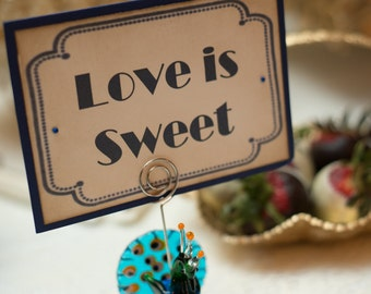 Candy Buffet Sign, Love is Sweet - Vintage Art Deco Navy - 1920's Wedding