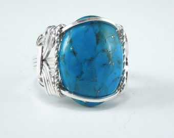 Sterling Silver Turquoise Cabochon Wire Wrapped Ring