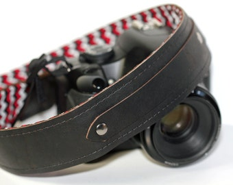 Personalized Leather Camera Strap, Chevron, hipster zig zag, hand stitched, name initials