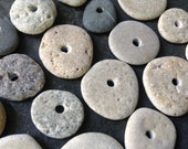 STONE WHEELIES...20 center drilled beach stones ~ pebbles rock:) ~ jewelry DIY ~ grey wedding