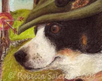 ACEO Mini Print Fox Terrier Dog Robin Hood by Rebecca Salcedo A4C Tiny Art dog in a hat