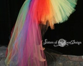 Rainbow tutu tulle skirt hi low pride Wedding fantasy Formal trail bridal party bustle dance prom carnival costume - You Choose Size - SOTMD