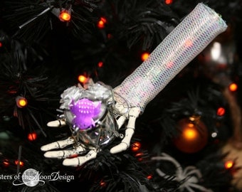 Skeleton hand Nightmare ornament collection decoration halloween christmas tree festive decor --silver drum -- By Sisters of the Moon