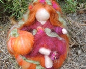Autumn Pumpkin Sprite - Waldorf Inspired Needle Felted Wool Soft Sculpture - fairy  Medium