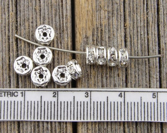 6mm Rhinestone Spacer Beads, 6mm Rhinestone Rondelle Beads, Silver Channel Set, Spacer Wheel beads QTY 25