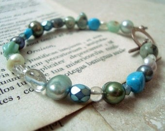 Aqua Blue Green Bracelet Sterling Silver Pearl Jewelry Spring Fashion March Birthstone June Birthstone Summer Jewelry Gifts Under 30