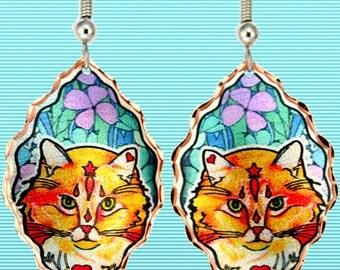 Orange Tabby Cat Earrings in Glowing Copper