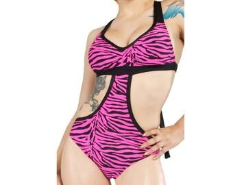 Sandra Monokini One Piece in Pink Zebra Print