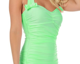 Rita Ruched Front Bow Back Onepiece Halter Swimsuit in Pastel Mint Green