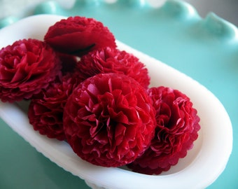 Wedding, Bridal Shower, Baby Shower Decor 1 inch  Button Mums Tissue Paper Flowers  Scarlet Red
