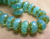 Aqua Blue Opalite Czech Glass Beads Rondell Picasso Milky 6x8mm (12)