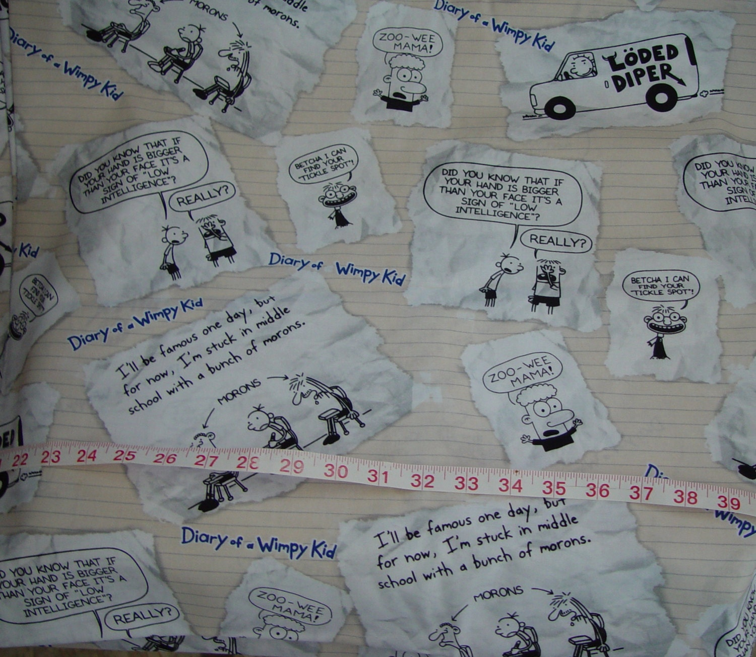 Diary of a wimpy kid notebook fabric almost 2 yards for Diary of a wimpy kid crafts