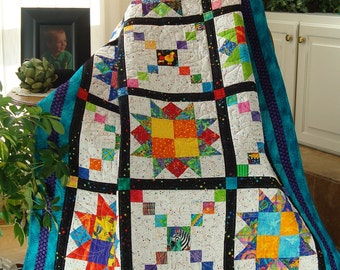 Playful Pathways Quilt Pattern in 4 sizes PDF #436e