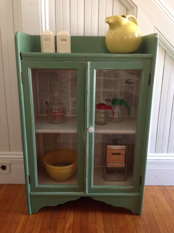 20% OFF SALE Vintage Green Cabinet American Farmhouse Wood - photo#25