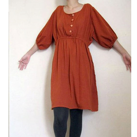 Custom Made Orange Cotton Front Buttons Soft Elastic Sleeves Short Boho Dress  S-XL (H)