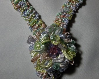 Handknit flower necklace with Swarovski crystal accents