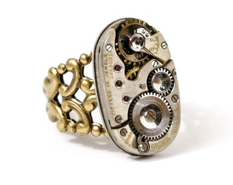 Steampunk Unisex Antiqued Brass Ring with Rare Gruen Guild Vintage Watch Movement and Thick Band by Velvet Mechanism