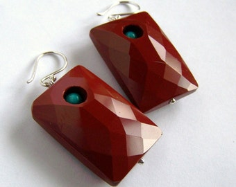 Faceted Rust Red Jasper earrings Turquoise Sterling Silver natural stone Statement Brick Color Block Heavy Large earrings Pink Owl Jewelry