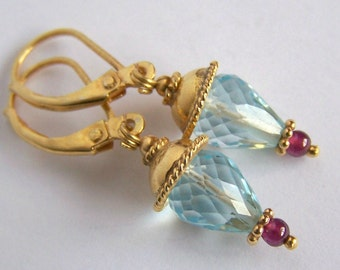 Natural Sky Blue Topaz Earrings Gold Vermeil Garnet accents Feminine Boho Royal jewelry Small Faceted stone drop earrings Handmade Jewelry