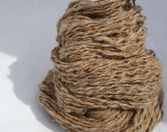 Speckled Fawn, handspun 2 ply, glass seed beads, local NY wool, silk. 165 yards