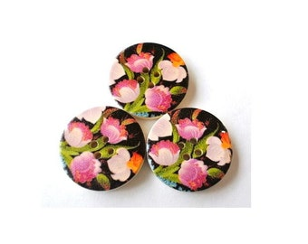 6 Wood buttons, 30mm, violet pink flowers picture 30mm, for scrapbppking, jewelry, crafts