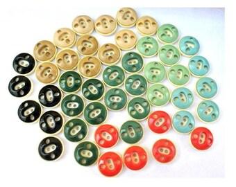 48 Vintage plastic buttons 9 assorted colors unique design , 21mm
