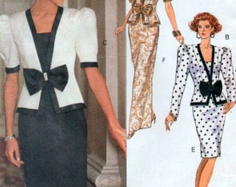 Large Plus Sizes 90s Jacket and Skirt Sewing Pattern Ladies Jessica Howard Butterick 5174