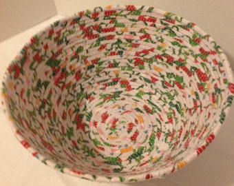 Round Coiled Fabric Bowl, Bright Multi-Color