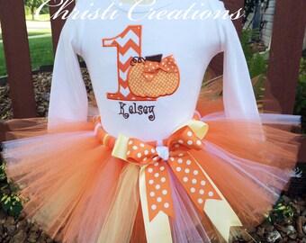 Baby Girl 1st Birthday Pumpkin Tutu Outfit - Orange, White and Yellow - Fall Birthday