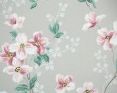 1940's Vintage Wallpaper Pink Dogwood Blossoms