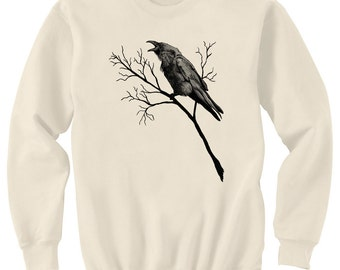 CLEARANCE SALE - One Only at this Price - Raven Caw in Branches Art Natural Sweatshirt Size M