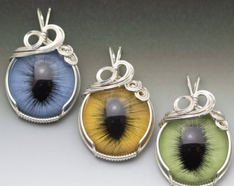 Green, Yellow, or Blue Cat Eye Glass Eyeball Sterling Silver Wire Wrapped Pendant