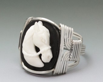Carved Bone Bridled Horse Head Cameo Sterling Silver Wire Wrapped Ring ANY size