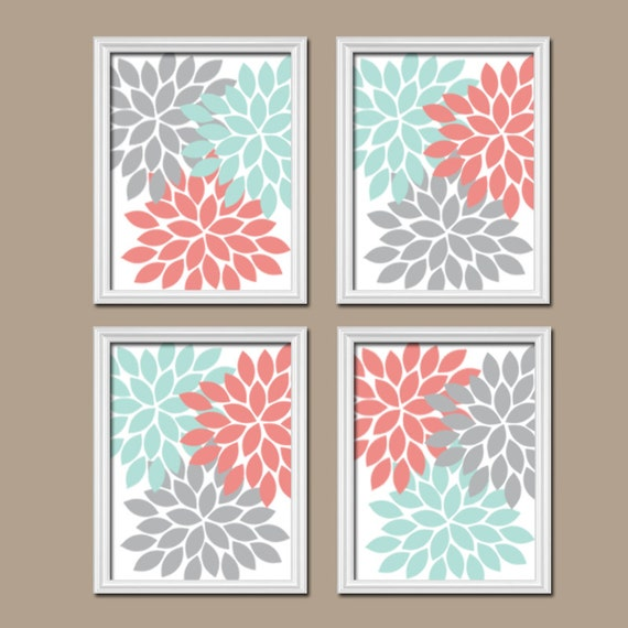 Coral Aqua Gray Wall Art CANVAS Or Prints Bedroom By TRMdesign