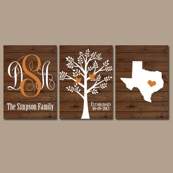 Personalized Wood Wall Decor : Family tree wall art personalized monogram canvas or prints