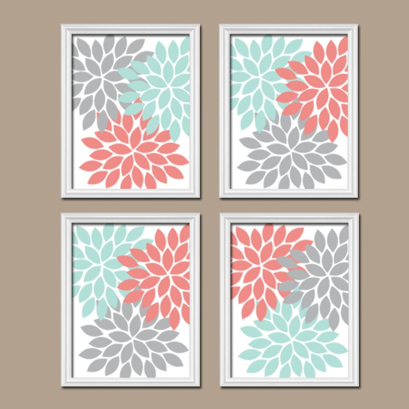 Coral Aqua Gray Wall Art Canvas Or Prints Bedroom Pictures