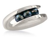 Gold Diamond Ring Black Natural Diamonds 14k White Engagement Rings Womens Jewelry