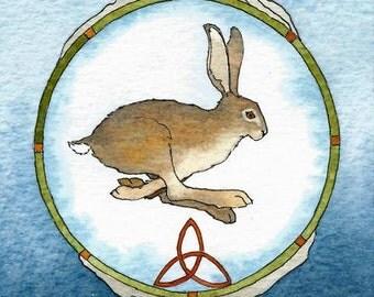 Celtic Hare totem   A5 archival print