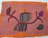Mola Art  San Blas Islands Parrot Bird Wall Art Orange Purple Primary Color 1960s