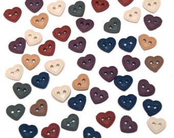 Mini Stitched Heart Buttons