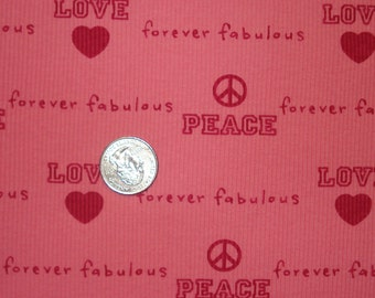 VS hearts, love and peace on pink  cotton baby knit fabric 1 yd