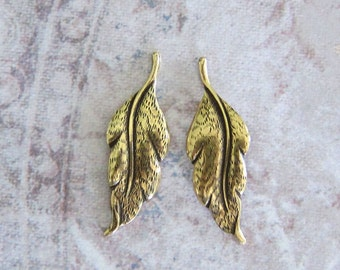 NEW 2 Small Brass Leaf Finding 3504