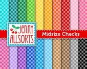 Midsize Checks - Medium Checkerboard Digital Paper 20 Sheets in Rainbow Colors - Instant Download