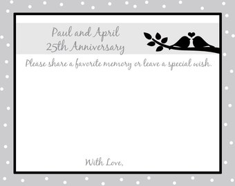 80 - Personalized 25th Anniversary Memory and Wishes Cards  -  Love Birds
