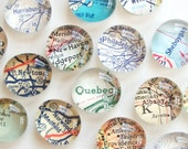 Vintage Map Magnets - NEW Set of Eight (you pick the regions) Perfect customized, personalized gift
