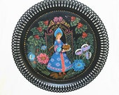 Vintage Russian Folk Art Tole Painting Metal Tray
