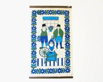 Vintage Scandinavian Ullas Screenprint Wall Hanging Swedish