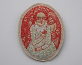 larger dreamer brooch - regal figure in scarlet - embroidery artwork