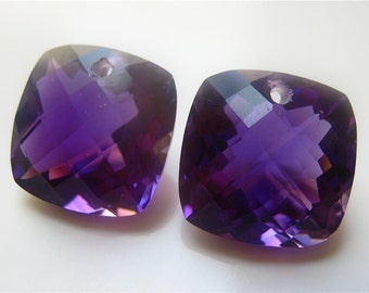 Pair of Purple Quartz Cushion Checker Cut Focal Briolettes 15mm semi precious gemstone briolette focal bead